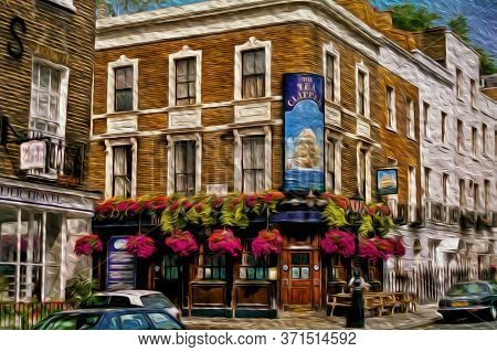 London, England - June 18, 1997. Traditional Pub Facade With Creative Sign On A Street Corner Of Lon