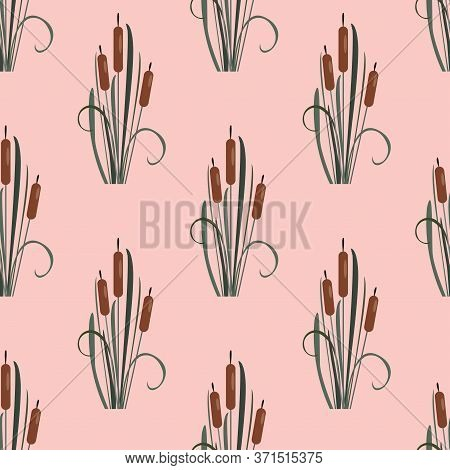 Seamless Pattern With Cute Reed. Scandinavian Hand Drawn Style. Vector Illustration