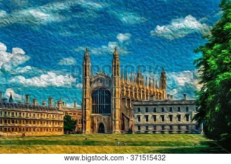 Cambridge, England - July 25, 1997. King College University And Chapel Facade In Front Of A Green Pa