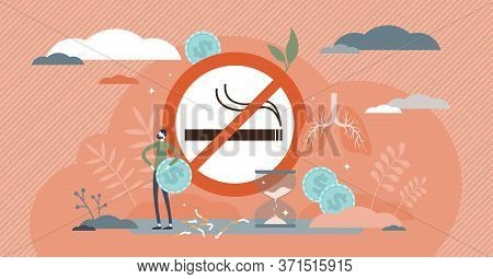 Quit Smoking Vector Illustration. Stop Cigarettes Tobacco Addiction Decision Tiny Persons Concept. F