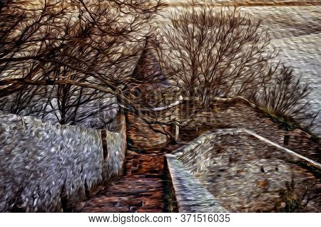 Mont-saint-michel, France - January 20, 1997. Stone Walls With Pathway And Turret Among Leafless Tre