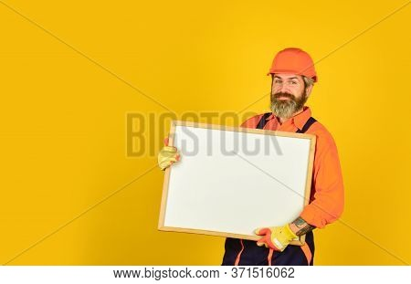 Architect Showing Project. Professional Repairman. Troubleshoot Concept. Repairman Hold Whiteboard C