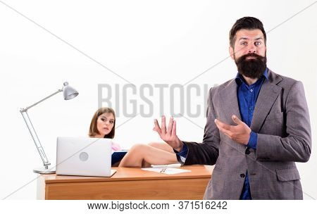 Sexual Provocation. Office Collective Concept. Bearded Boss Stand In Front Of Sexy Girl Working Lapt