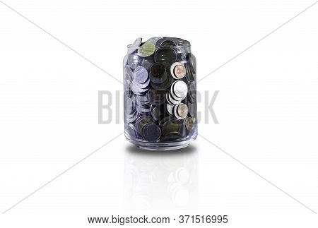 Saving Concept By Making Ledger To Save Coin To Collect In The Bottle And Use Thai Currency, Save Up