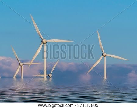 wind turbines for generating electricity in the water. photomont