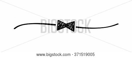 Hand Drawn Shape Bow Tie With Cute Sketch Line, Divider Shape. Fathers Day Doodle Isolated On White