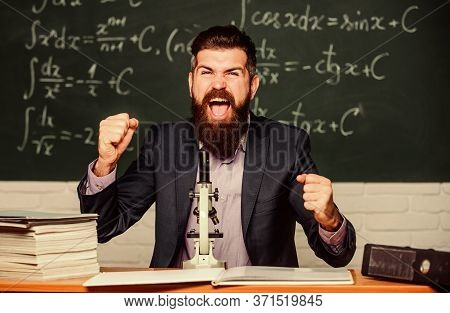 Revolutionary Invention Done. Happy Scientist Made Invention. Bearded Man Celebrate Invention In Bio