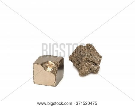 Natural Pyrite And Partially Treated Pyrite On White Background. Close-up