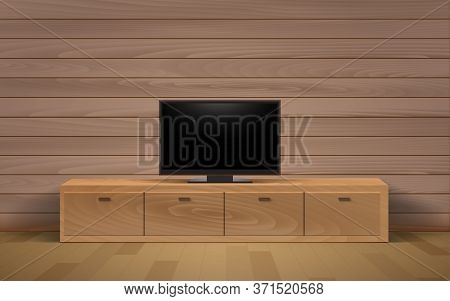 Lcd Tv On The Wooden Showcase And Cabinet In The Livingroom