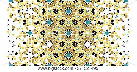 Morocco Arabesque Vector Texture. Geometric Halftone Morocco Texture With Color Tile Disintegration.