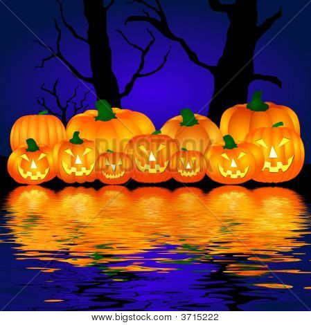 Halloween Pumpkins Near The Water