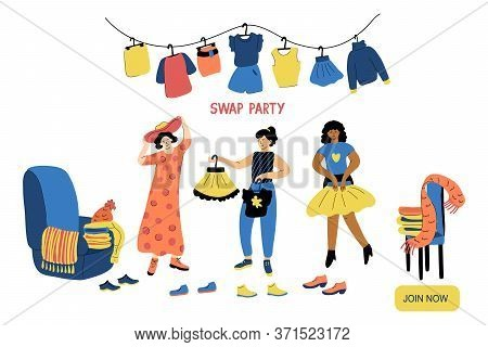 Swap Party Vector Illustration Isolated On White Background. Friends Exchange Their Clothes And Shoe