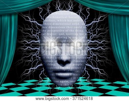 Surreal face with text on a stage. 3D rendering