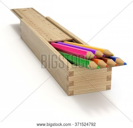 Multicolored Wooden Pencils In Wooden Box - 3d Illustration