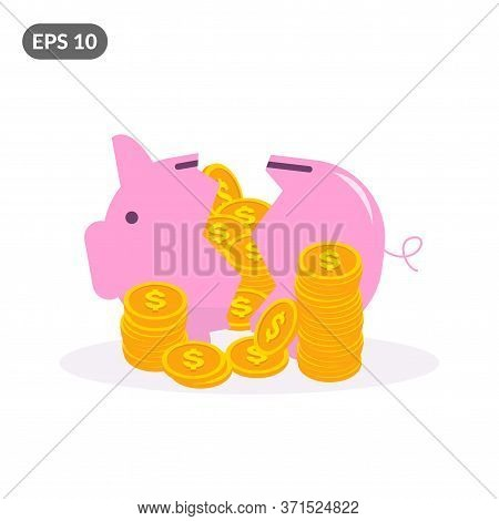 Cracked Pink Piggy Bank With Piles Of Golden Dollar Coins. Broken Pink Coin Box In Flat Style