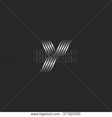 Initial Letter Y Logo Monogram, Overlapping Thin Curved Lines, Metal Stripes Glamorous Business Card