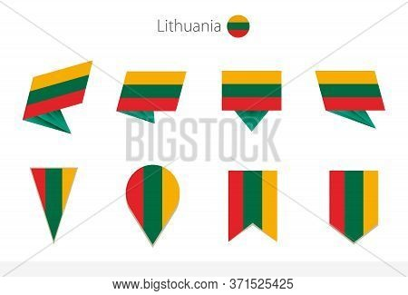 Lithuania National Flag Collection, Eight Versions Of Lithuania Vector Flags. Vector Illustration.