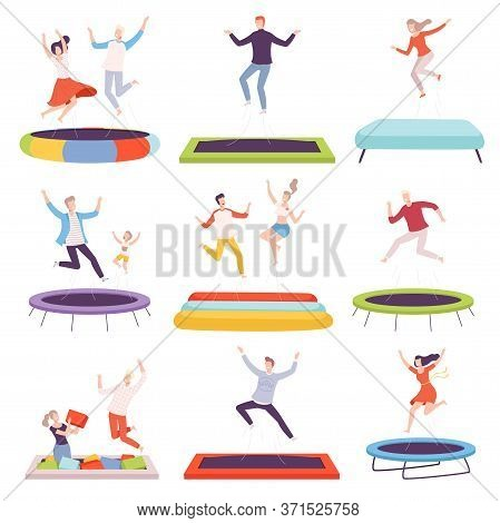 People Bouncing On Trampoline, Happy Men, Women And Kids Having Fun Together, Active Healthy Lifesty