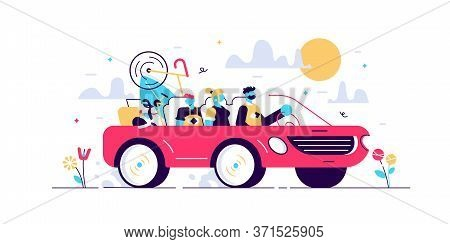 Family Camping Road Trip Concept, Flat Tiny Persons Vector Illustration. Vacation Weekend Holiday Jo