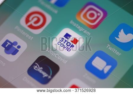 Guilherand-granges, France - June 15, 2020. Stop Covid. French Government Smartphone App Against Cov