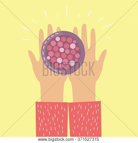 Hands Holding A Box With Blush. Body Care Products For Make Up Near The Girls . Vector Modern Illust