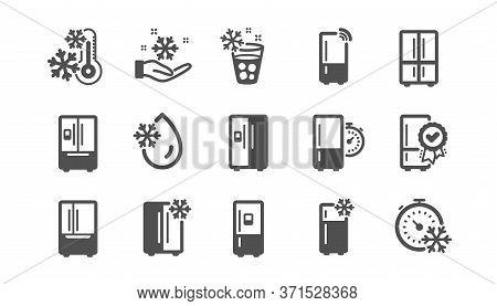 Fridge Icons Set. Refrigerator, Smart Fridge Machine, Freezer Storage. Water With Ice, Cooler Box, T