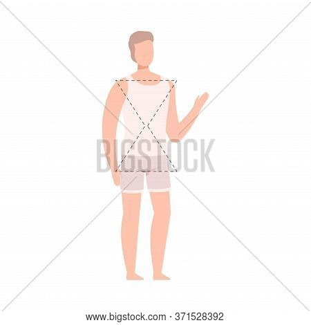 Faceless Man In White Tank Top And Underpants, Male Body Hourglass Shape Flat Style Vector Illustrat