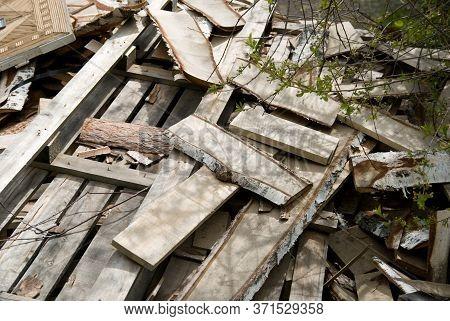 Background Of Sawn Birch Boards, Trash In A Heap.