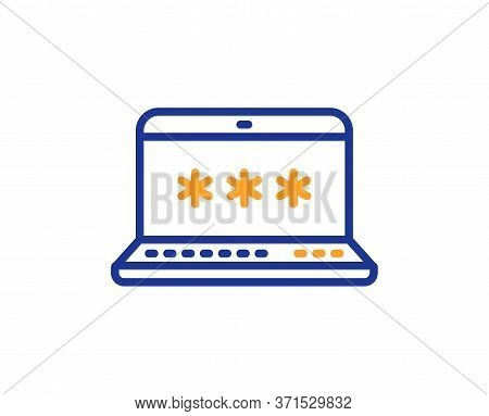 Laptop Password Line Icon. Cyber Defence Sign. Computer Protection Symbol. Colorful Thin Line Outlin