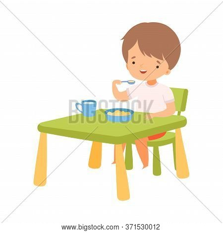 Cute Boy Eating Breakfast At The Table, Preschool Kid Daily Routine Activity Cartoon Vector Illustra