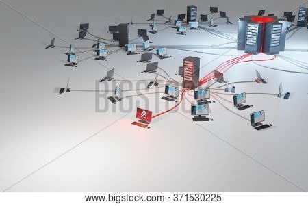 Cybercrime, Infiltration And Data Theft. Network Security Breach. Compromised Computer Connected To