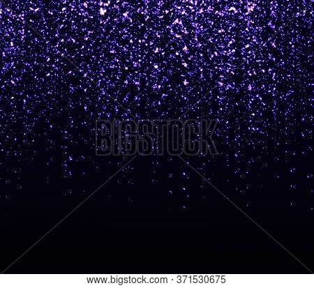 Falling Particles. Sparkle Background. Shining Purple Confetti. Light Effect. Falling Stars. Glitter