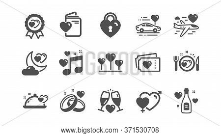 Honeymoon Icons Set. Marriage Rings, Wedding Car, Love. Bridal Champagne, Valentine Heart Icons. Cou