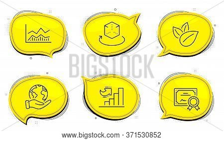 Augmented Reality Sign. Diploma Certificate, Save Planet Chat Bubbles. Organic Product, Growth Chart