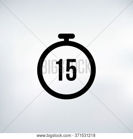 Stopwatch Vector Icon 15 Secs, Digital Timer. Clock And Watch, Timer, Countdown Symbol.