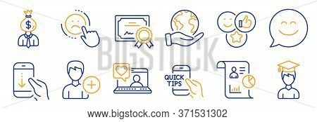 Set Of People Icons, Such As Like, Dislike. Certificate, Save Planet. Smile Chat, Report, Student. A