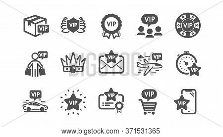 Vip Icons Set. Certificate, Casino Chips, Delivery Parcel. Very Important Person, Player Table, Vip