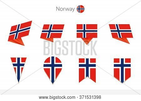 Norway National Flag Collection, Eight Versions Of Norway Vector Flags. Vector Illustration.