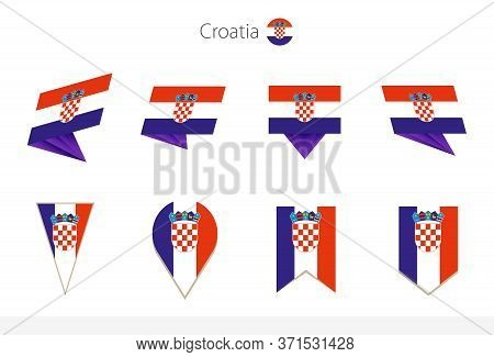 Croatia National Flag Collection, Eight Versions Of Croatia Vector Flags. Vector Illustration.
