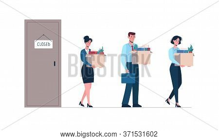 Dismissed Employees Leave The Closed Enterprise. Vector Illustration Of Job Loss. Men And Women With