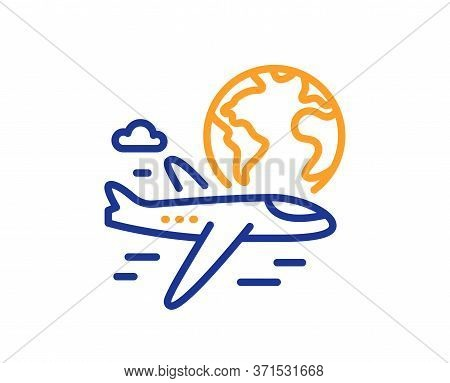 Global Travel Line Icon. International Flight Sign. Online Trip Symbol. Colorful Thin Line Outline C