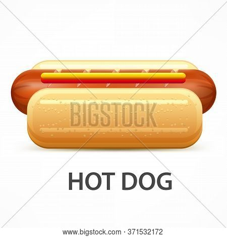 Hotdog With Ketchup And Mustard Isolated On White. Vector Illustration.