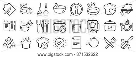 Boiling Time, Frying Pan And Kitchen Utensils. Cooking Line Icons. Fork, Spoon And Knife Line Icons.