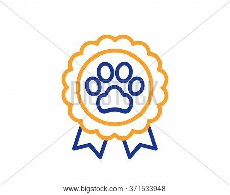 Dog Competition Line Icon. Pets Award Sign. Champion Winner Medal Symbol. Colorful Thin Line Outline