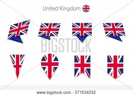 United Kingdom National Flag Collection, Eight Versions Of United Kingdom Vector Flags. Vector Illus