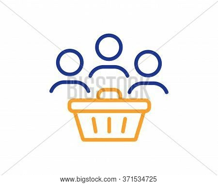 Buyers With Shopping Cart Line Icon. Customers Group Sign. Supermarket Clients Symbol. Colorful Thin