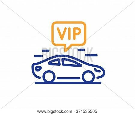 Vip Transfer Line Icon. Very Important Person Transport Sign. Luxury Taxi Symbol. Colorful Thin Line