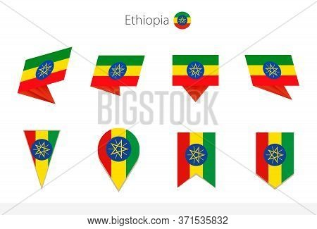 Ethiopia National Flag Collection, Eight Versions Of Ethiopia Vector Flags. Vector Illustration.