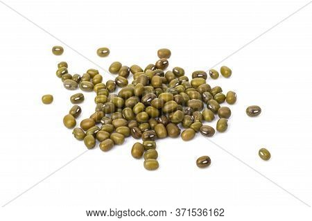 Whole Dried Mung Beans Isolated On A White Background. Dietary Useful Healthy Food For Preserving Yo