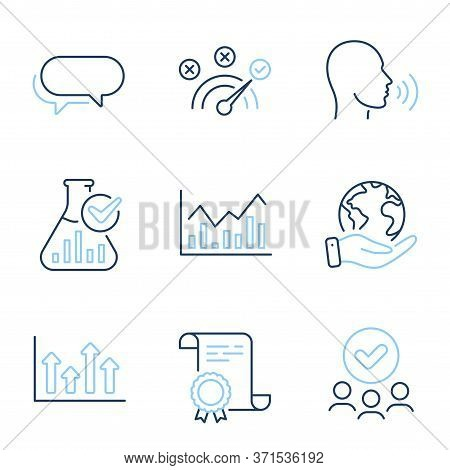 Upper Arrows, Infochart And Messenger Line Icons Set. Diploma Certificate, Save Planet, Group Of Peo